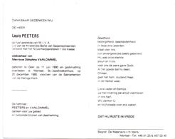 Devotie - Doodsprentje Overlijden - Louis Peeters - Geel 1900 - Mortsel 1985 - Obituary Notices