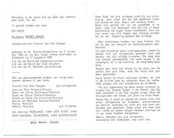 Devotie - Doodsprentje Overlijden - Hubert Roeland - St Goriks Oudenhove 1920 - Zottegem 1985 - Obituary Notices