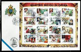 FDC SAN MARINO 1999 QUATTRO SECOLI DI OPERA - QUATRE SIECLES D'OPERA - Música