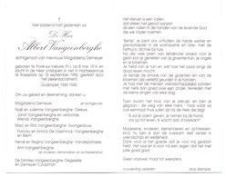 Devotie - Doodsprentje Overlijden - Oudstrijder Albert Vngeenberghe - Poiré Sur Velluire 1916 - Roeselare 1996 - Obituary Notices