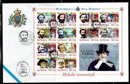 FDC SAN MARINO 2001 MELODIE IMMORTALI - GIUSEPPE VERDI - Música