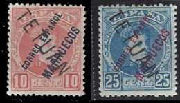 Maroc Espagnol Postes  N° 23 Et 24 10c Rouge Et 25c Bleu Alphonse XII Surchargés TETUAN Qualité: * Cote: 300 € - Stamps
