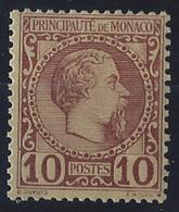 Monaco Postes  N° 4 10c Charles III Lilas-brun Sur Jaune Qualité: * Cote: 120 € - Neufs