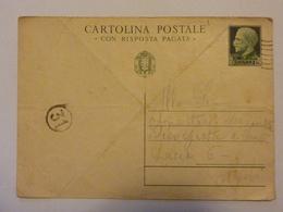 """Cartolina Postale Viaggiata  """"Con Risposta Pagata"""" Timbro Censura Anni '30 - 1900-44 Vittorio Emanuele III"""