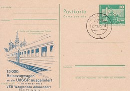 DDR P79 C28-6-75 Postkarte PRIVATER ZUDRUCK Waggonbau Ammendorf Stpl. 1975 - Trains