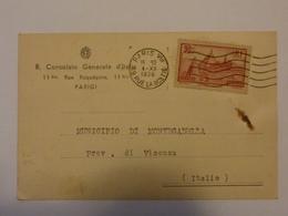 """Cartolina Postale Viaggiata """"R. CONSOLATO D'ITALIA PARIGI - MUNICIPIO DI MONGADELLA ( VI )"""" Firma Console 1936 - 1900-44 Vittorio Emanuele III"""