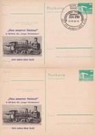 DDR 100 Jahre über Suhl Bahnpost ZUG 210 01-08-1984 2 Cards - Trains