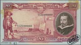 "Angola: Banco De Angola 20 Angolares 1944 SPECIMEN, P.79s, Oval Stamp ""Specimen-Cancelled - De La Ru - Angola"