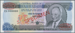 """Barbados: 100 Dollars ND (1973) Specimen P. 35s With Red """"Specimen"""" Overprint In Center On Front And - Barbades"""