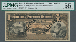 Brazil / Brasilien: 1 Mil Reis ND(1917) Specimen P. 5s, In Condition: PMG Graded 55 AUNC. - Brésil