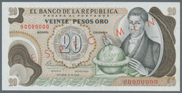 Colombia / Kolumbien: 20 Pesos Oro 1966 Specimen P. 409s, With Zero Serial Numbers And Specimen Over - Colombie