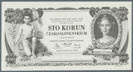 Czechoslovakia / Tschechoslowakei: Uniface Intaglio Printed Front Proof For The 100 Korun 1931in Bla - Tchécoslovaquie
