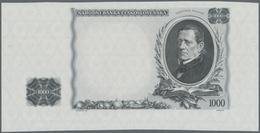 Czechoslovakia / Tschechoslowakei: Intaglio Printed Backside Proof For The 1000 Korun 1934, P.26p In - Tchécoslovaquie