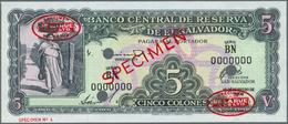 El Salvador:  Banco Central De Reserva De El Salvador 5 Colones 1962 SPECIMEN, P.102as With Two Oval - Salvador