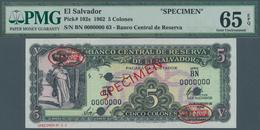 El Salvador: Banco Central De Reserva De El Salvador 5 Colones 1962 SPECIMEN, P.102s, PMG Graded 65 - Salvador