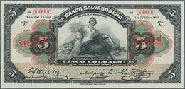 El Salvador: Banco Salvadoreño 5 Colones 1920 SPECIMEN, P.S213s, Punch Hole Cancellation At Lower Ma - Salvador