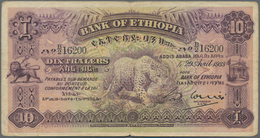Ethiopia / Äthiopien: 10 Thaler 1933 P. 8, Used With Folds And Light Stain In Paper, No Holes, Still - Ethiopie