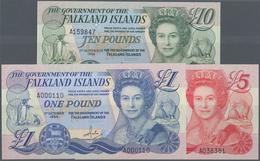 Falkland Islands / Falkland Inseln: Set Of 3 Notes Containing 1, 5 & 10 Pounds 1983, 1984, 1986, All - Falkland