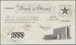 Ghana: 1000 Pounds 1958 P. 4, Light Dints And Handling In Paper, Minor Corner Folds, No Strong Folds - Ghana