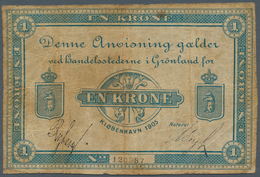 Greenland / Grönland: 1 Krone 1905, P.5e, Yellowed Paper With Small Tears At Center. Condition: F- - Groenland
