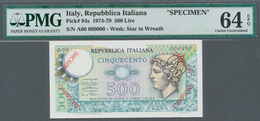 Italy / Italien: 500 Lire 1974 Specimen P. 94s, In Condition: PMG Graded 64 Choice UNC EPQ. - [ 1] …-1946 : Royaume
