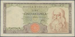 Italy / Italien: 50.000 Lire 1967 P. 99a Leonardo Da Vinci, S/N #V035658B, Used With Folds And Creas - [ 1] …-1946 : Royaume