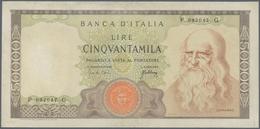 Italy / Italien: 50.000 Lire 1967 P. 99a Leonardo Da Vinci, S/N #P092047G, Used With Light Folds In - [ 1] …-1946 : Royaume