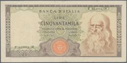 Italy / Italien: 50.000 Lire 1970 P. 99b Leonardo Da Vinci, S/N #P034903M, Pressed, Used With Some L - [ 1] …-1946 : Royaume