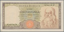 Italy / Italien: 50.000 Lire 1974 P. 99c Leonardo Da Vinci, S/N #H106775r, Used With Some Light Vert - [ 1] …-1946 : Royaume