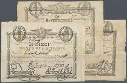 "Italy / Italien: Set Of 3 Notes ""Banco Di Spirito"" 25 & 50 Bhi. And 10 Paoli P. S521, S523, S525, Al - [ 1] …-1946 : Royaume"