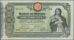 Italy / Italien: Banco Di Napoli 50 Lire 1893 P. S846, Seldom Offered Note, In Exceptional Condition - [ 1] …-1946 : Royaume