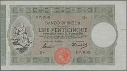 Italy / Italien: Banco Di Sicilia 25 Lire 1918 P. S895, Used With Light Folds In Paper, One 1cm Bord - [ 1] …-1946 : Royaume