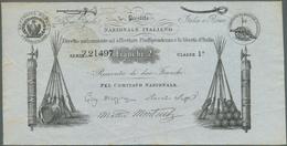 Italy / Italien: 2 Franchi 1849 Prestitio Natzionale Italiano, Rare Note, Stamped On Back, Light Fol - [ 1] …-1946 : Royaume