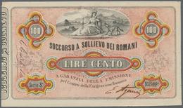 Italy / Italien: Soccorso A Sollievo Dei Romani 100 Lire ND(1867) P. NL, Crisp Original Without Dama - [ 1] …-1946 : Royaume