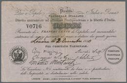 Italy / Italien: Prestito Nazionale Italiano 100 Franchi 1850 P. NL, Used With Center Fold And Sever - [ 1] …-1946 : Royaume