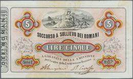 Italy / Italien: 5 Lire Soccorso A Sollievo Dei Romani 1867 P. NL, Used With Vertical And Horizontal - [ 1] …-1946 : Royaume