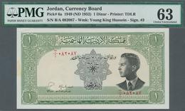 Jordan / Jordanien: 1 Dinar ND(1952) P. 6a, Sign. 3 In Condition: PMG Graded 63 Choice UNC. - Jordanie