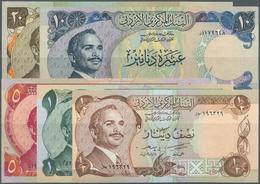 Jordan / Jordanien: Set Of 9 Notes Containing 2x 1/2 Dinar P. 17, 1 Dinar P. 18, 3x 5 Dinars P. 19, - Jordanie