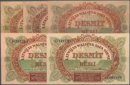 "Latvia / Lettland: Very Nice Set With 5 Banknotes 10 Rubli Containg 10 Rubli With ""Serija Bb232040"" - Latvia"