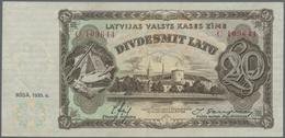 Latvia / Lettland: 20 Latu 1935 P. 30a, Light Vertical And Horizontal Fold, No Holes Or Tears, Paper - Latvia