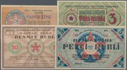 Latvia / Lettland: Riga's Workers Deputies' Soviet Lot With 4 Banknotes 1, 3, 5 And 10 Rubli 1919, P - Latvia