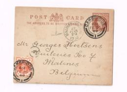 Entier Postal à 1/2 Penny.Expédié De Cambridge à Malines (Belgique) - Stamped Stationery, Airletters & Aerogrammes