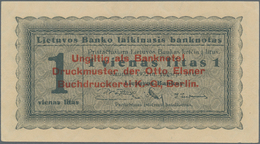"Lithuania / Litauen: 1 Litas 1922 SPECIMEN With Red Overprint: ""Ungiltig Als Banknote! Druckmuster D - Lituanie"