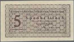 "Lithuania / Litauen: 5 Litai 1922 SPECIMEN With Red Overprint: ""Ungiltig Als Banknote! Druckmuster D - Lituanie"