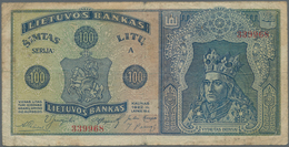 Lithuania / Litauen: 100 Litu 1922, P.20a, Highly Rare Banknote With Small Margin Splits, Several Fo - Lituanie