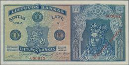 "Lithuania / Litauen: 100 Litu 1922 SPECIMEN With Red Overprint ""Pavyzdys - Bevertis"", P.20s1 In Perf - Lituanie"
