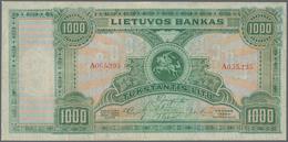 Lithuania / Litauen: 1000 Litu 1924, P.22a, Extraordinary Rare And The Key Note Of Lithuanian Bankno - Lituanie