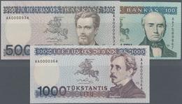 Lithuania / Litauen: Nice Lot With 3 Banknotes 100, 500 And 1000 Litu 1991, P.50a, 51, 52, All In Pe - Lituanie