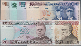 Lithuania / Litauen: Very Nice Lot With 6 Banknotes 1, 2, 5, 10, 20 And 50 Litu 1993/94, P.53a-58a, - Lituanie