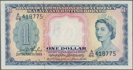 Malaya & British Borneo: Pair With 1 And 10 Dollars 1953, P.1, 3, Both In VF/VF+ Condition. (2 Pcs.) - Malaysie